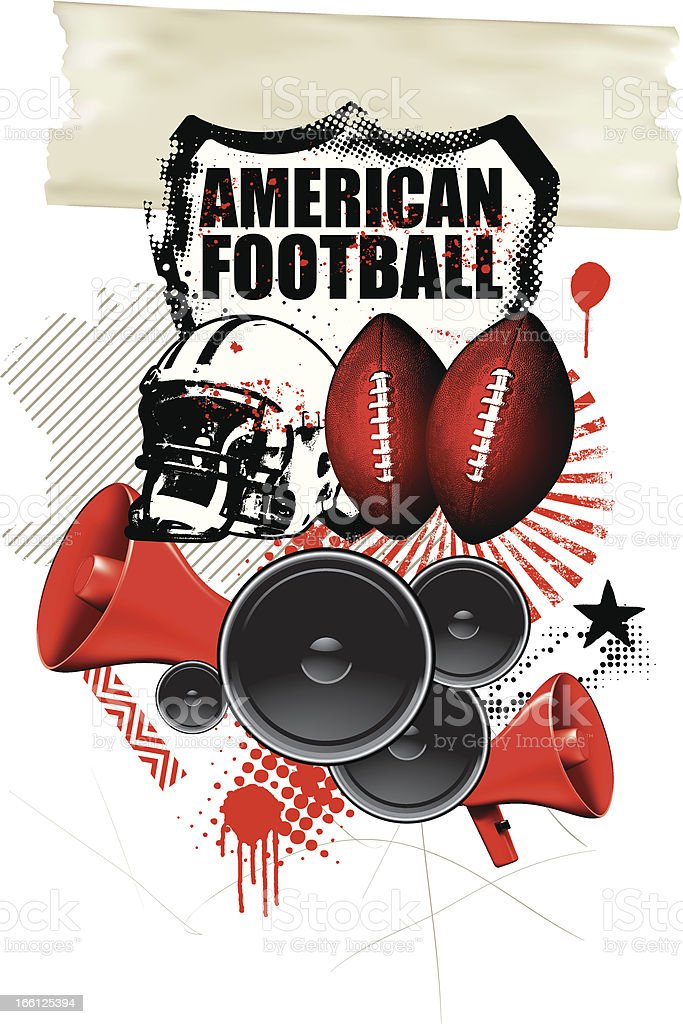 american football background with many objects royalty-free stock vector art