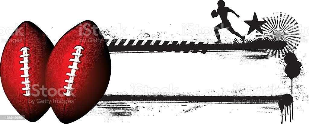 american football banner with balls and player vector art illustration