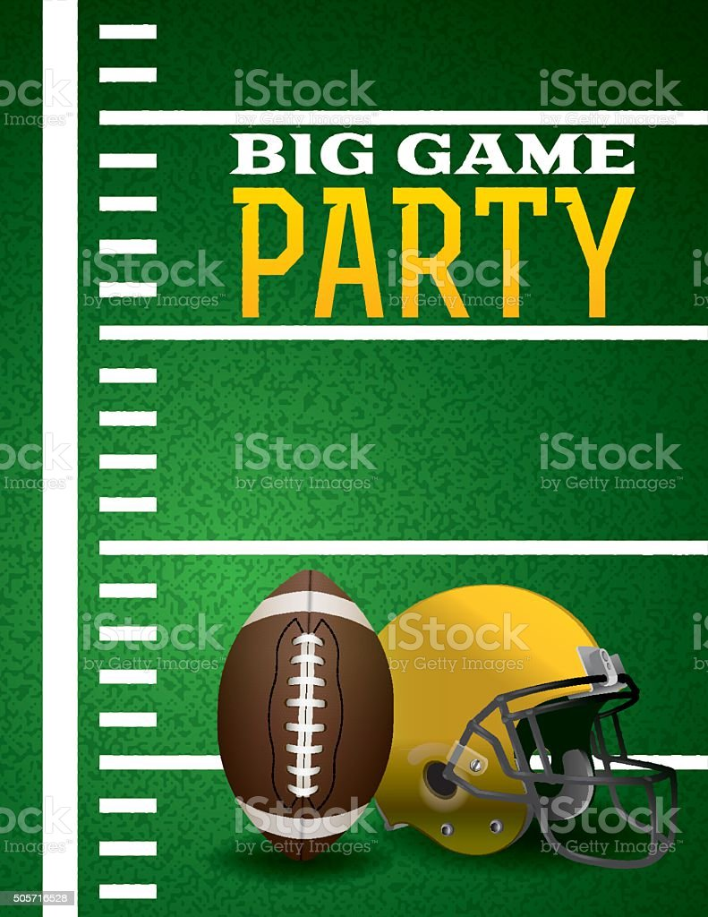 American Football Big Game Party Invitation vector art illustration
