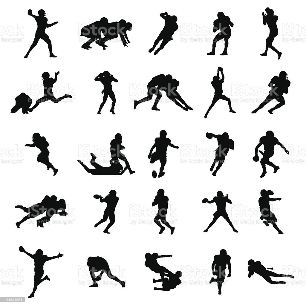 American Football Black Vector Silhouettes Illustration vector art illustration