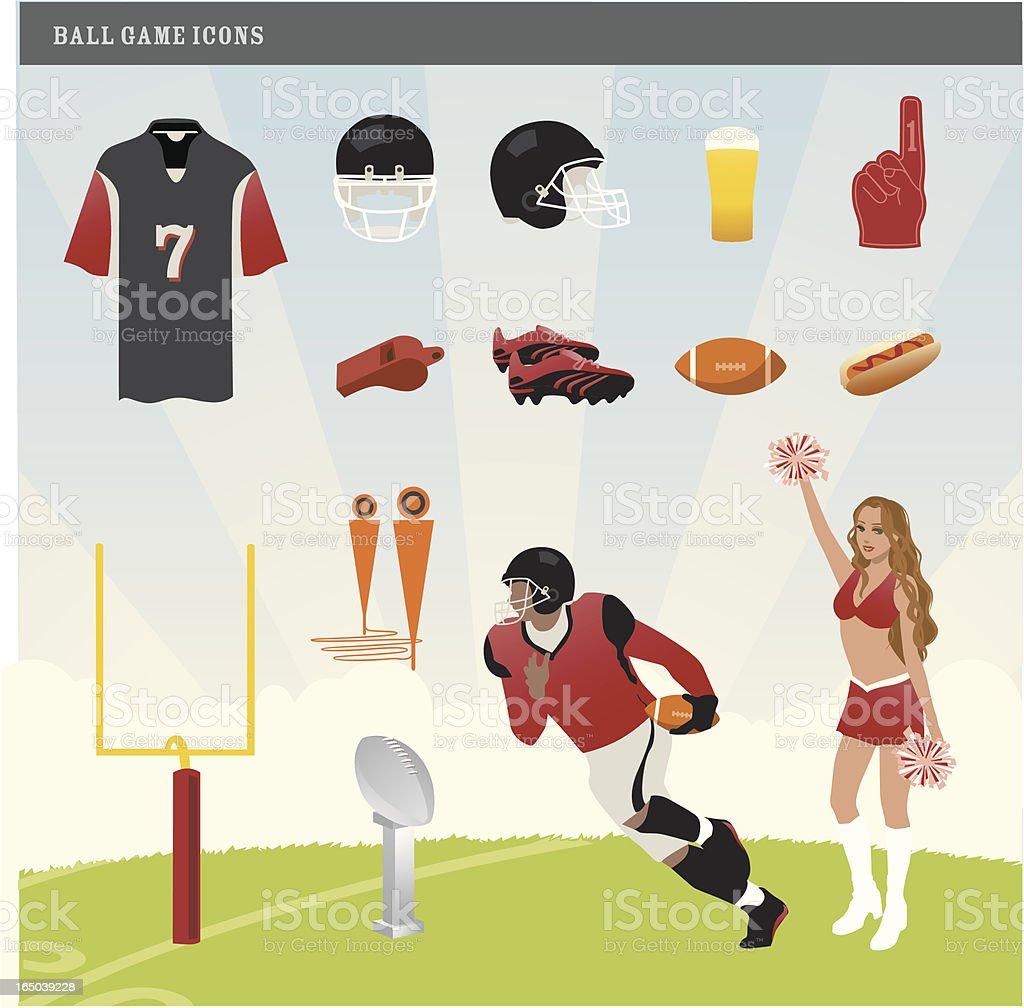 American Football Bowl Game Icons vector art illustration