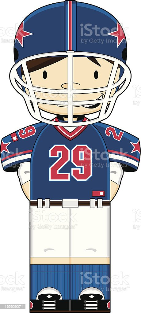 American Football Boy in Helmet royalty-free stock vector art
