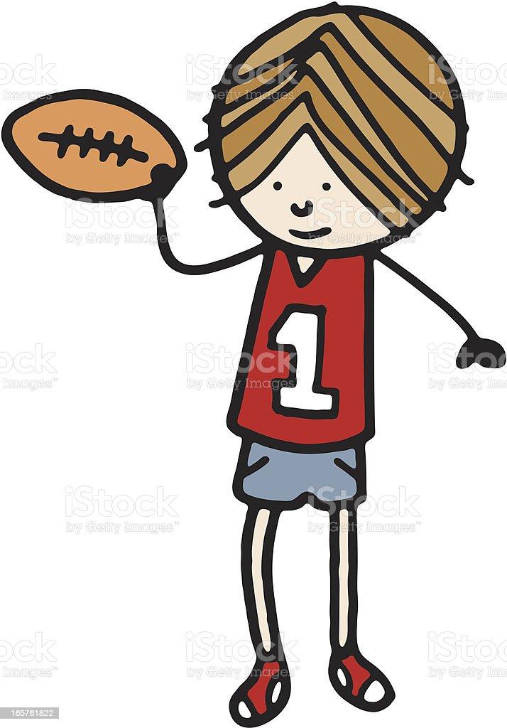 American football boy royalty-free stock vector art