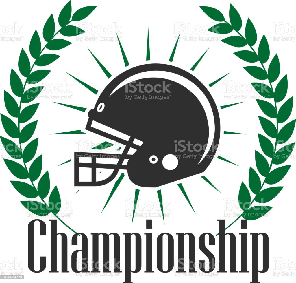 American football championship retro badge design vector art illustration