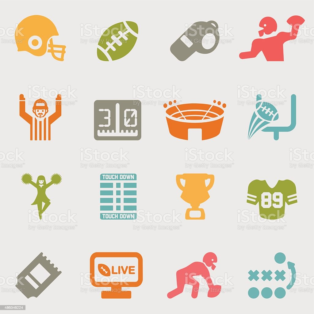 American Football color variation icons | EPS10 vector art illustration