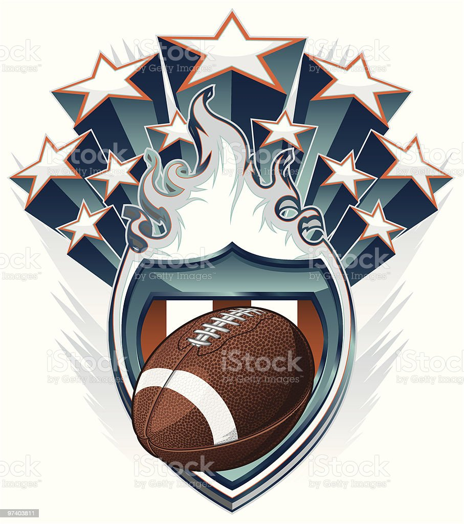 American Football emblem with stars and a ball vector art illustration