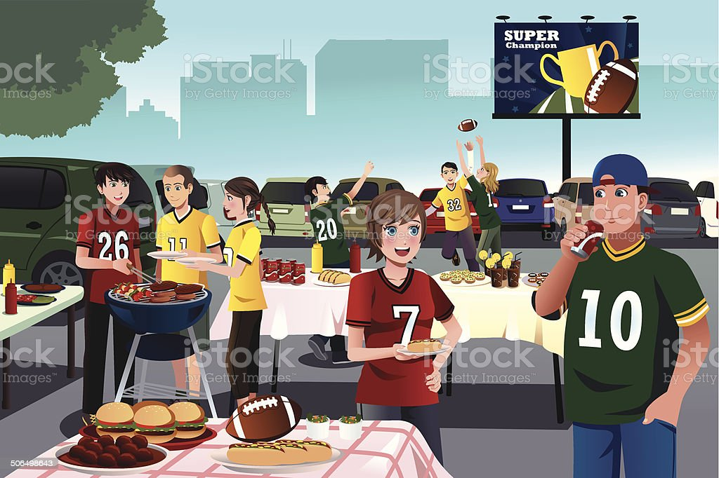 American football fans having a tailgate party vector art illustration