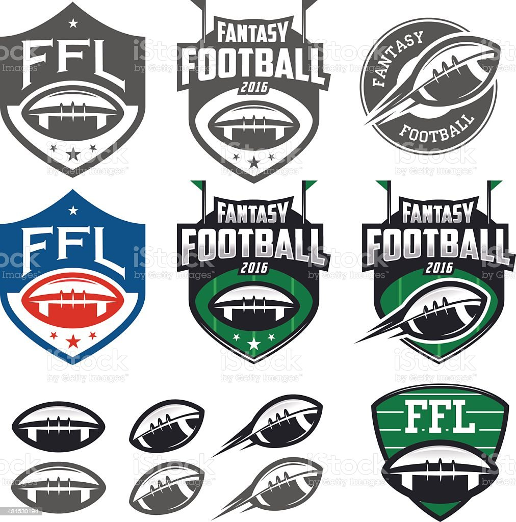 American football fantasy league labels, emblems and design elements vector art illustration