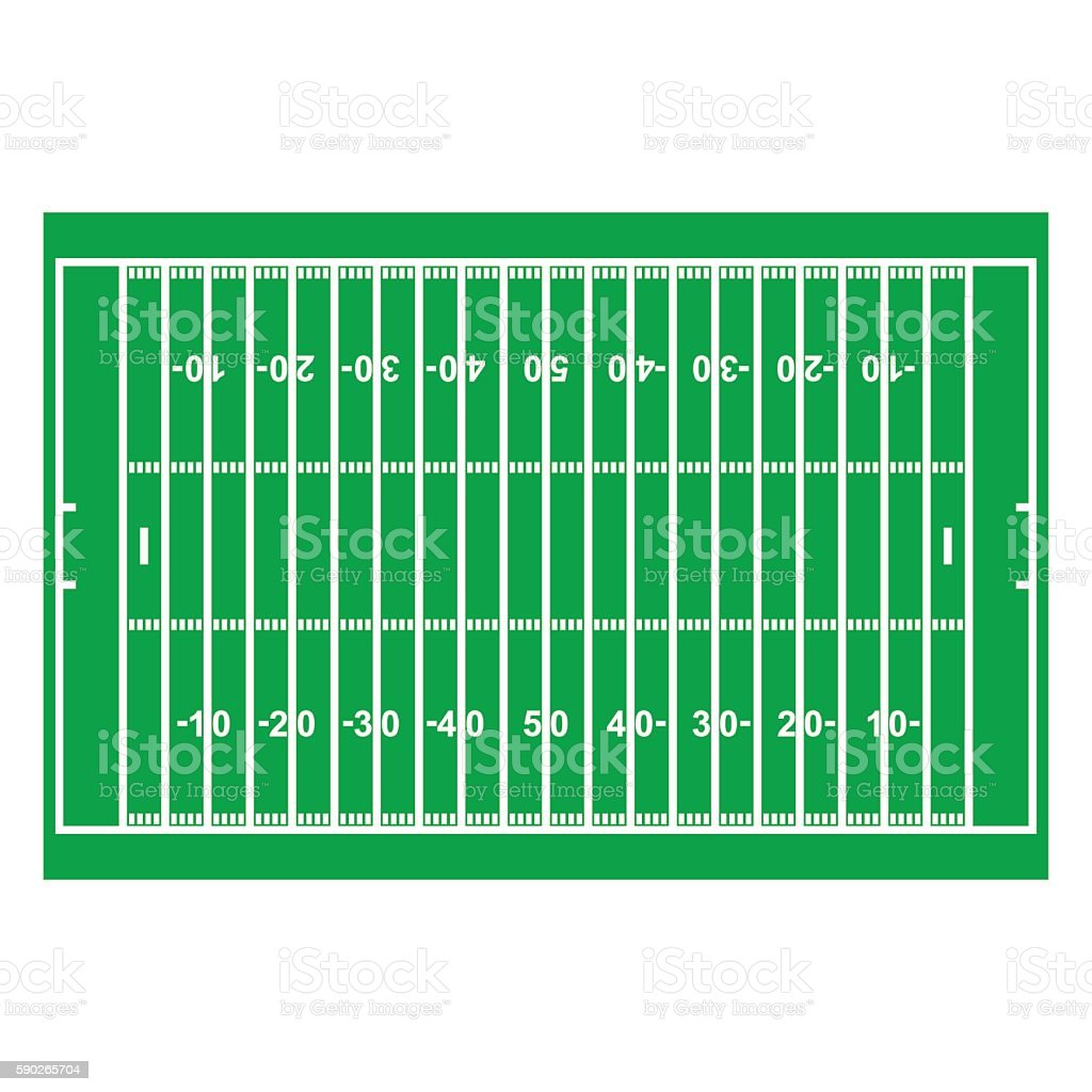 American Football Field with Line and Grass Texture vector art illustration
