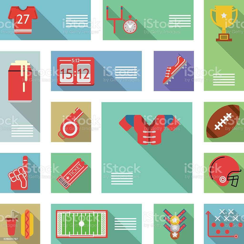 American football flat vector icons vector art illustration