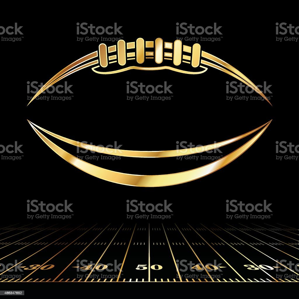 American Football Golden Icon vector art illustration
