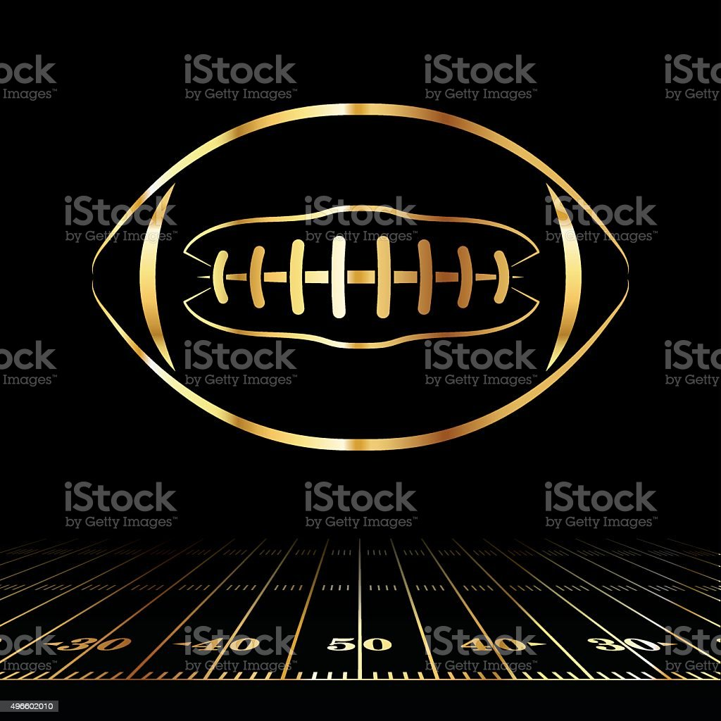 American Football Golden Icon vector art illustration