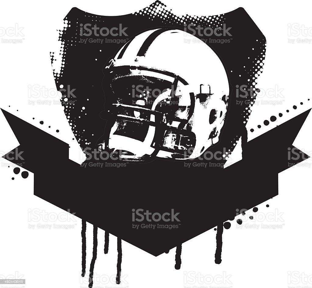 american football grunge shield vector art illustration