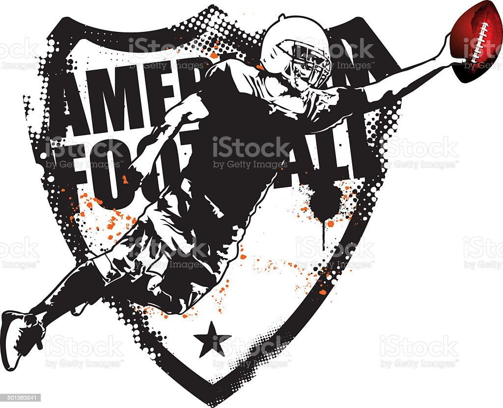 american football grunge shield with player jumping vector art illustration