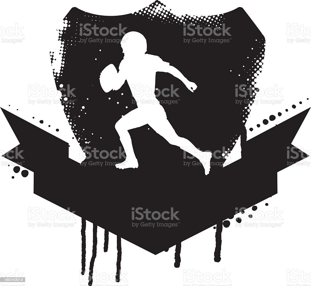 american football grunge shield with player vector art illustration