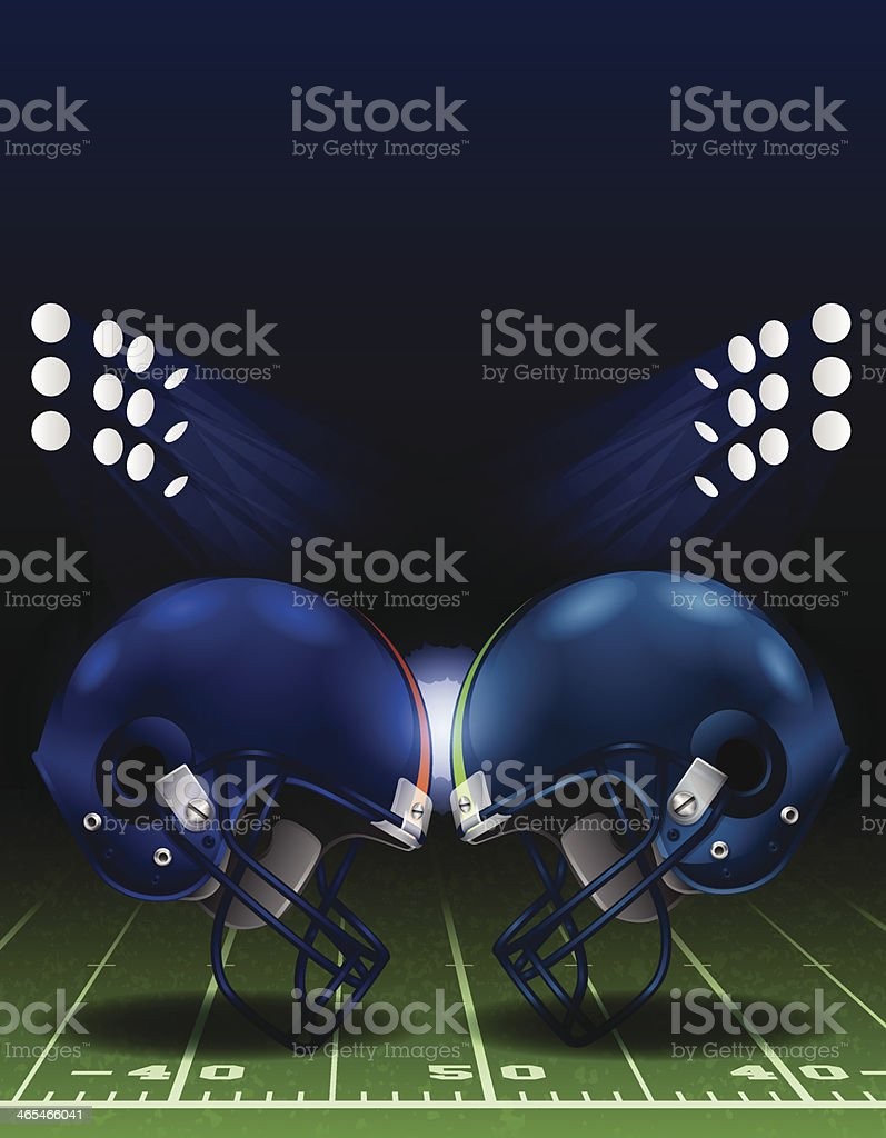 American Football Helmet Clash vector art illustration