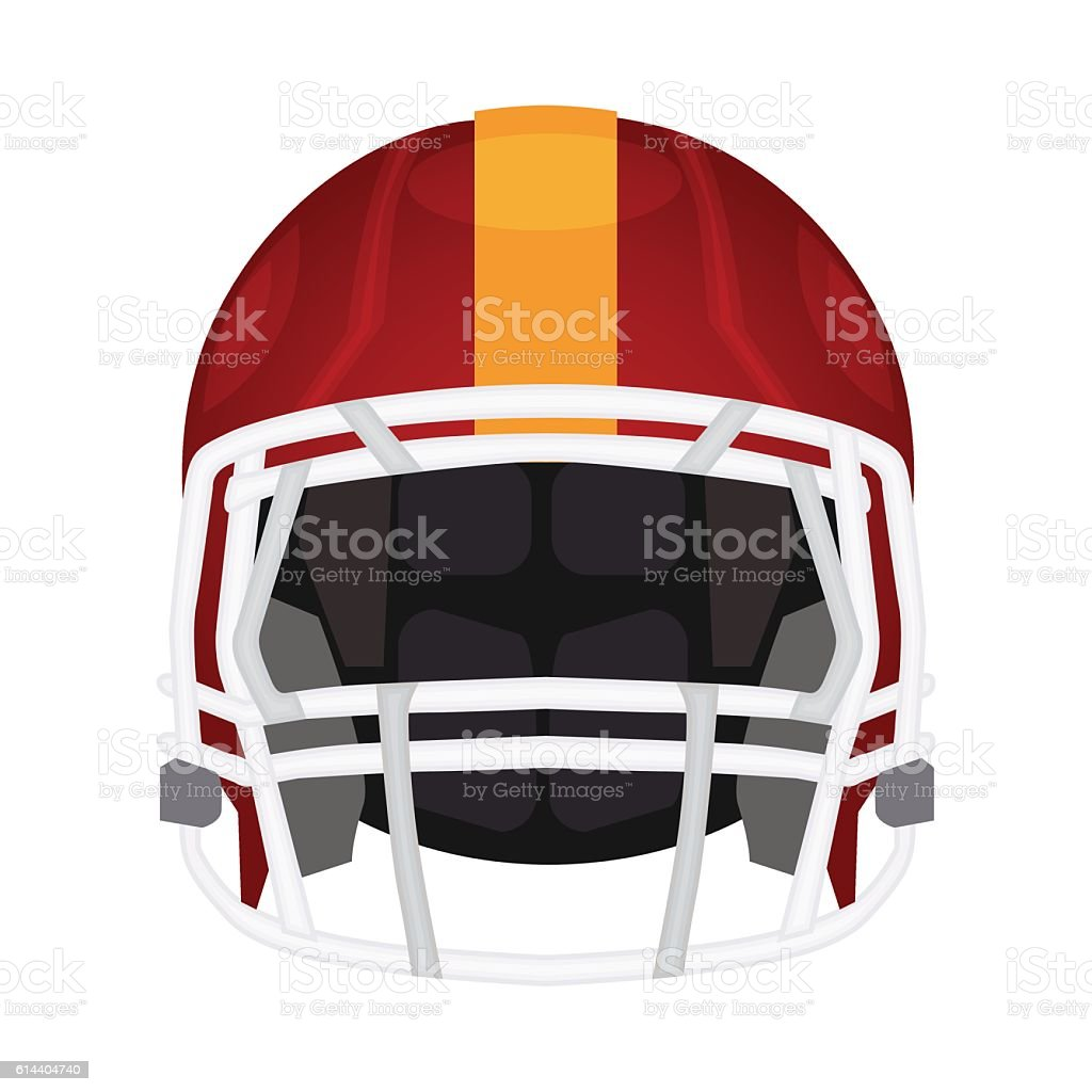 American football helmet icon. Rugby head protection helm vector art illustration