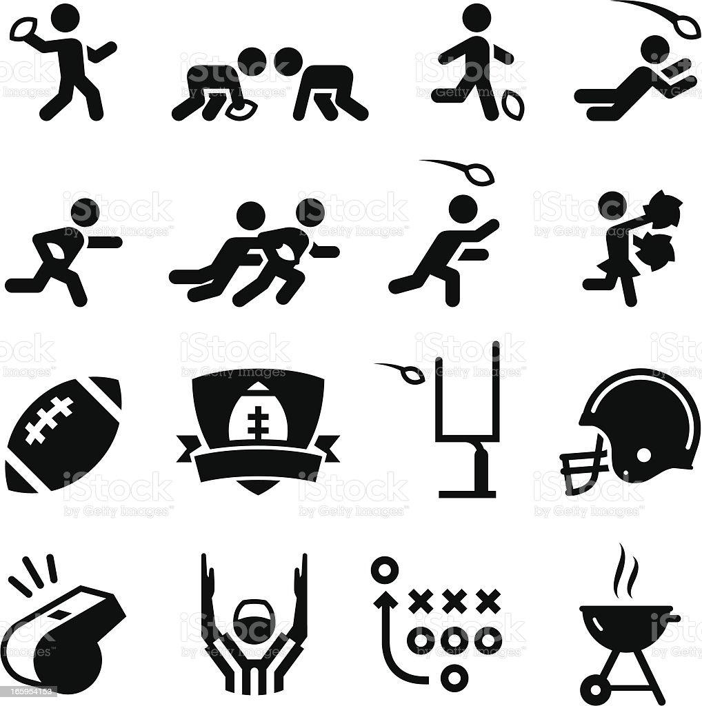 American Football Icons - Black Series vector art illustration