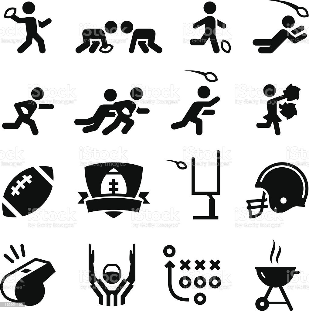 American Football Icons - Black Series vector art illustration