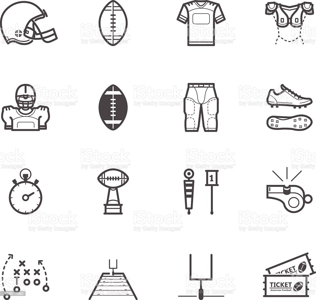 American Football Icons vector art illustration