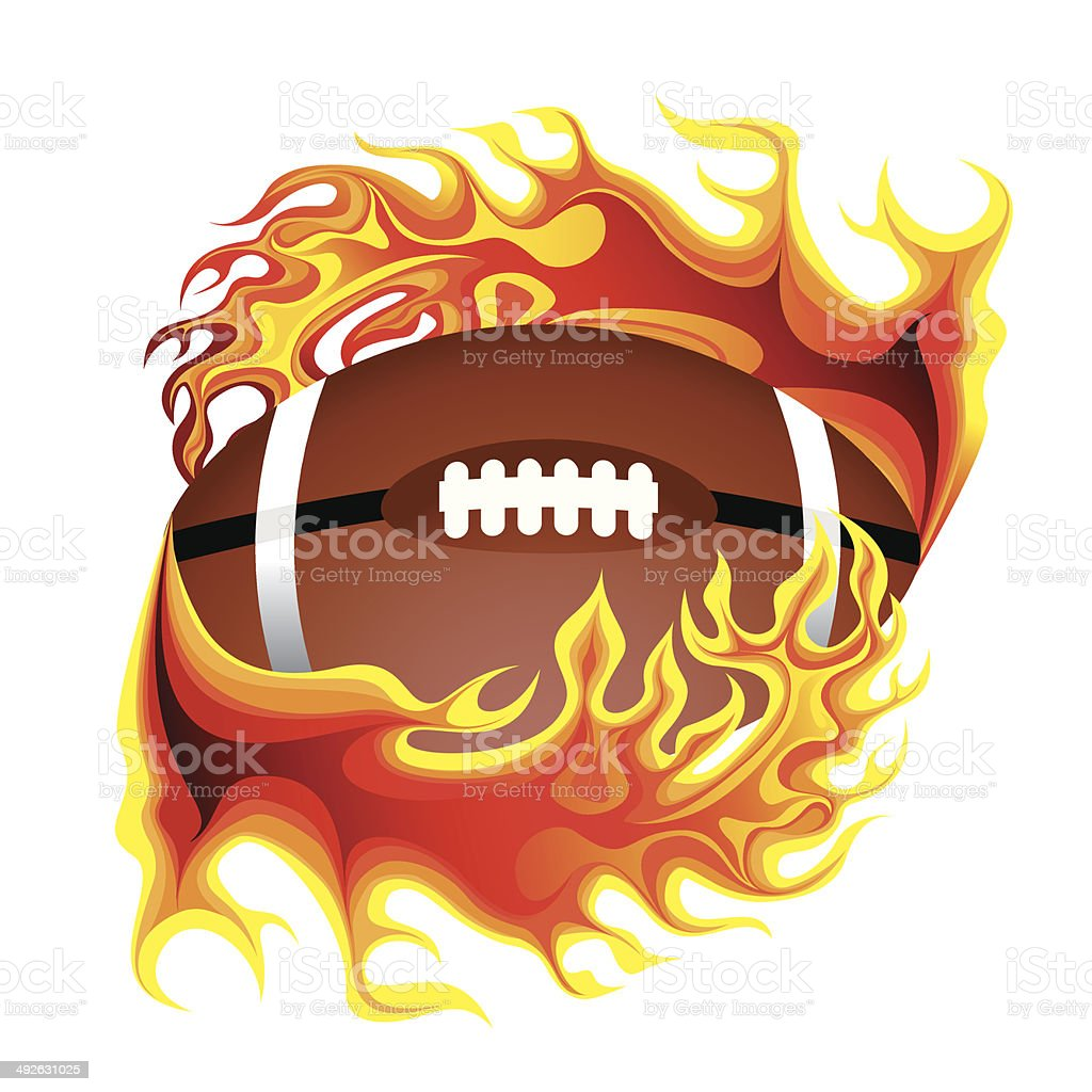 American football in flame - Illustration royalty-free stock vector art