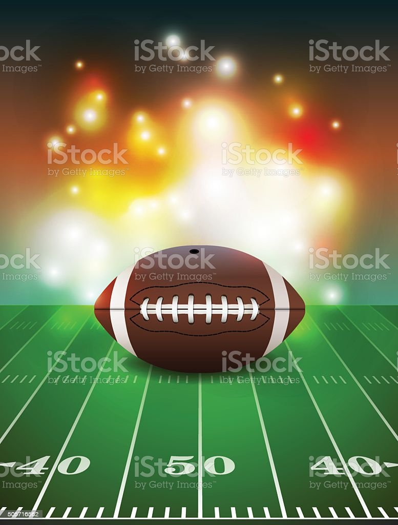 American Football on Field Background vector art illustration
