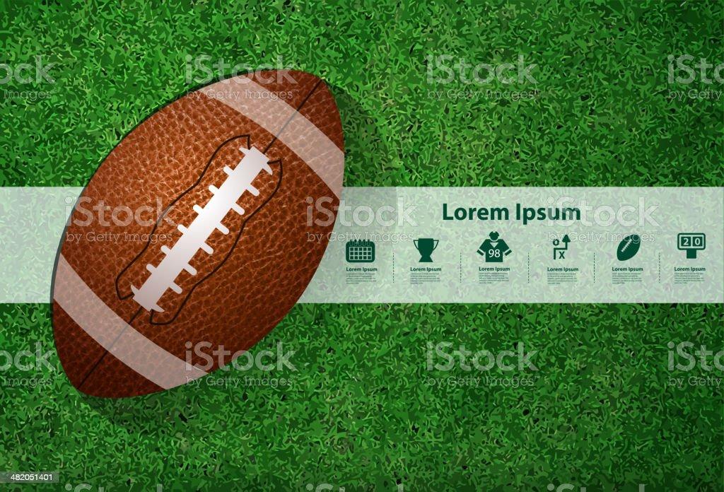 American football on the field vector art illustration
