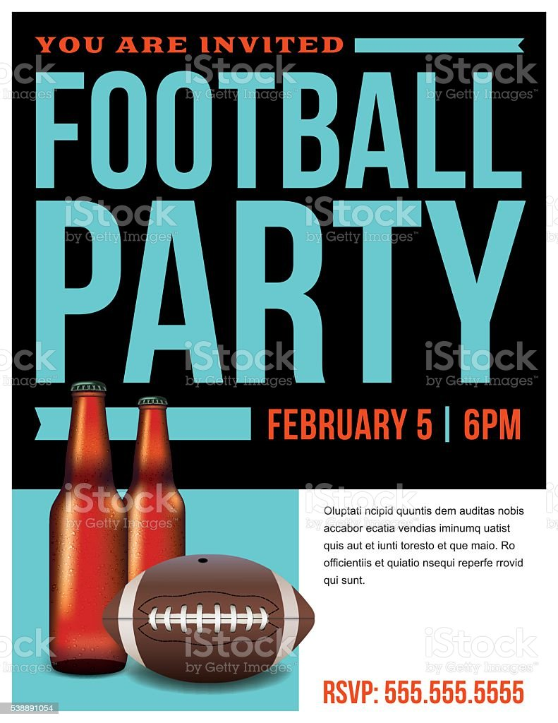 American Football Party Flyer Template vector art illustration