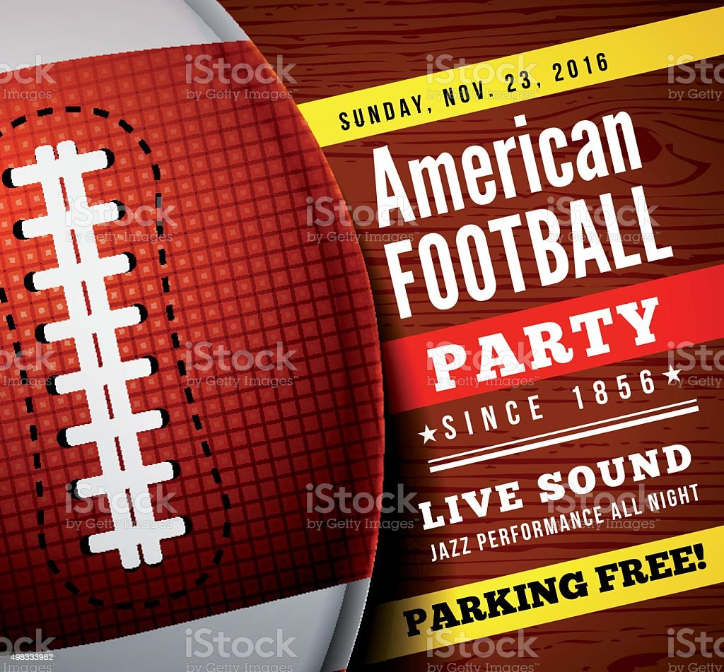 American football party. Vector background vector art illustration