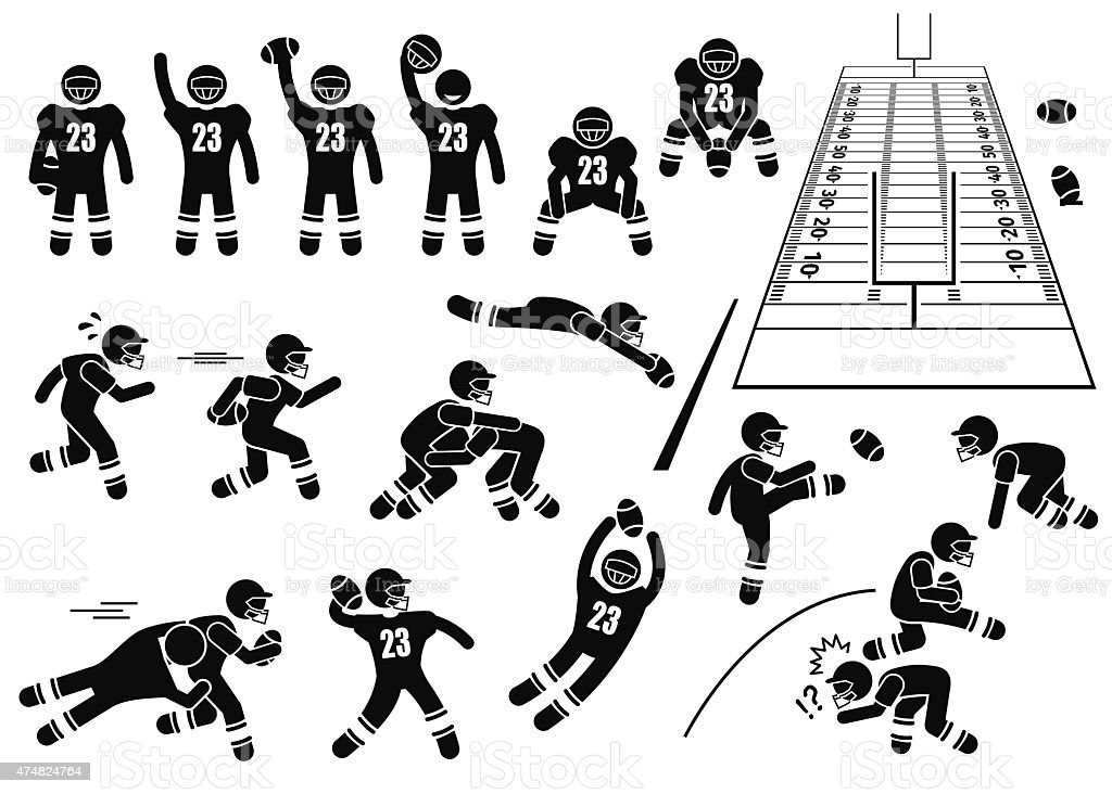 American Football Player Actions Poses Stick Figure Pictogram Icons vector art illustration