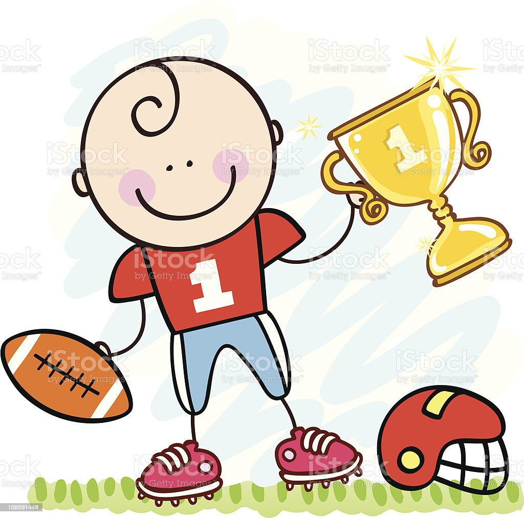 american football player boy with cup royalty-free stock vector art