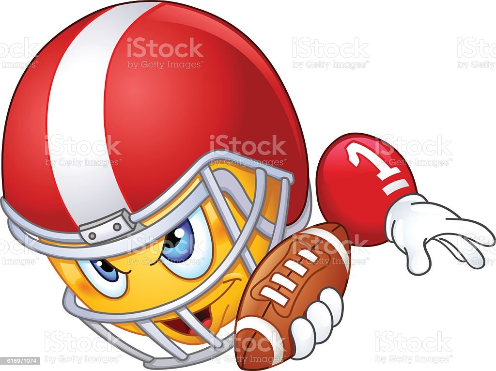 American football player emoticon vector art illustration