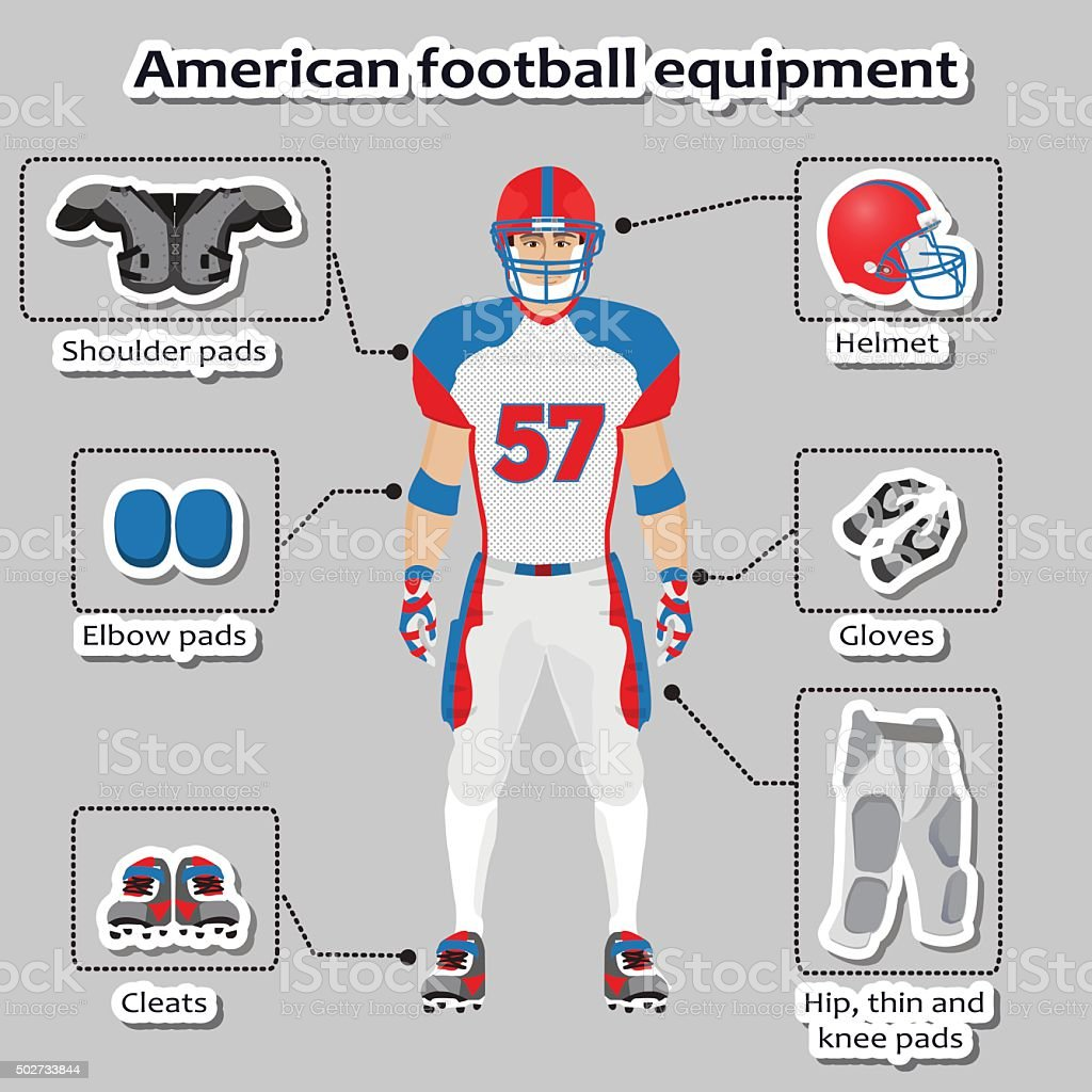 American football player equipment vector art illustration