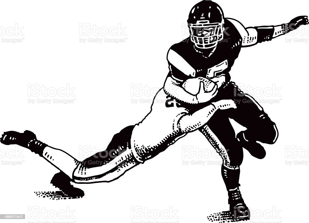 American Football Player Getting Tackled vector art illustration