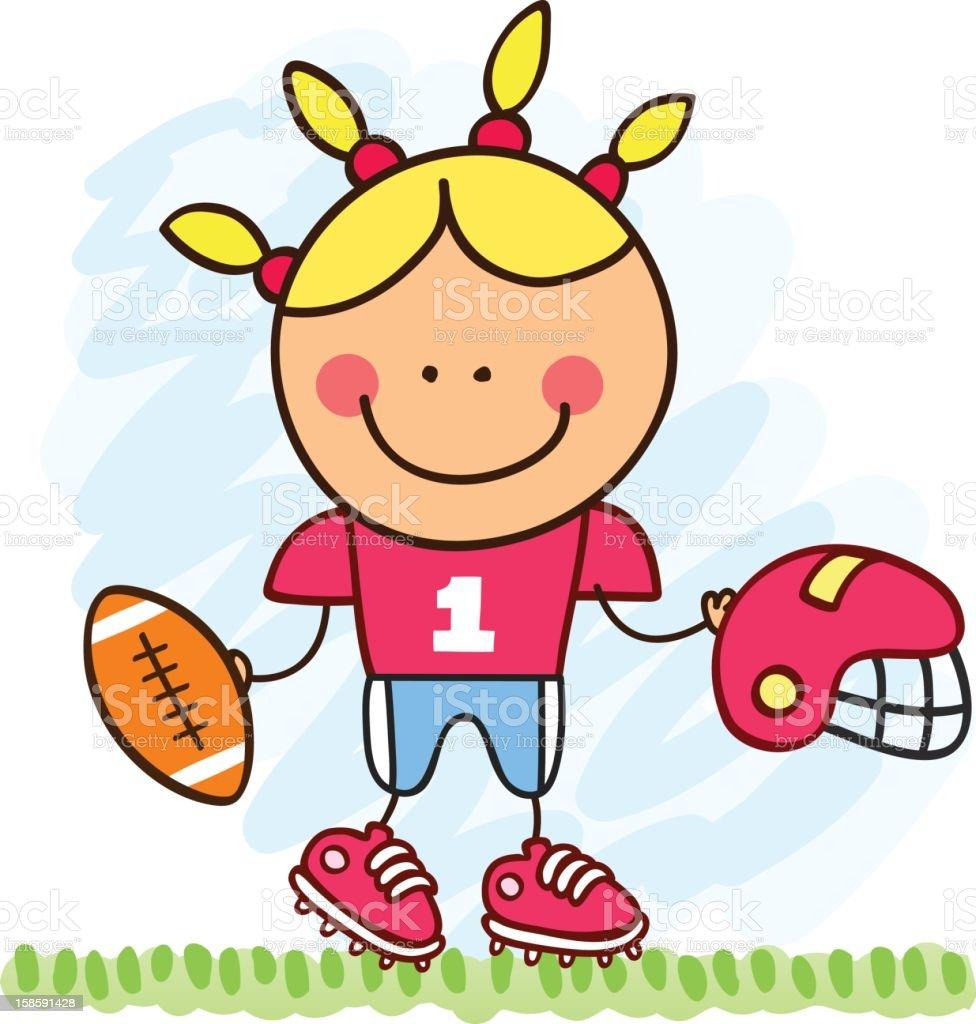 american football player girl cartoon illustration royalty-free stock vector art