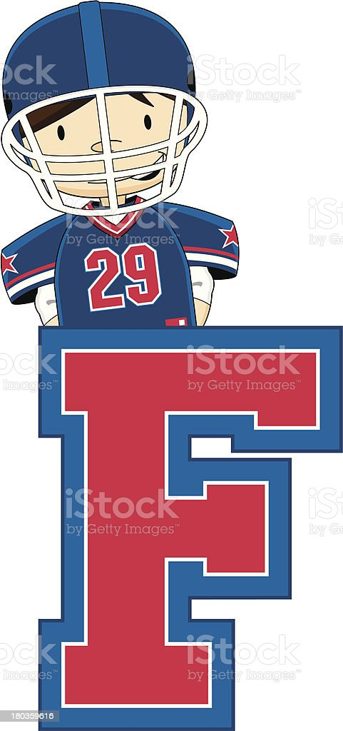 American Football Player Learning Letter F royalty-free stock vector art