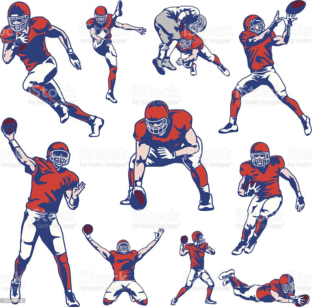 American Football Player Set vector art illustration
