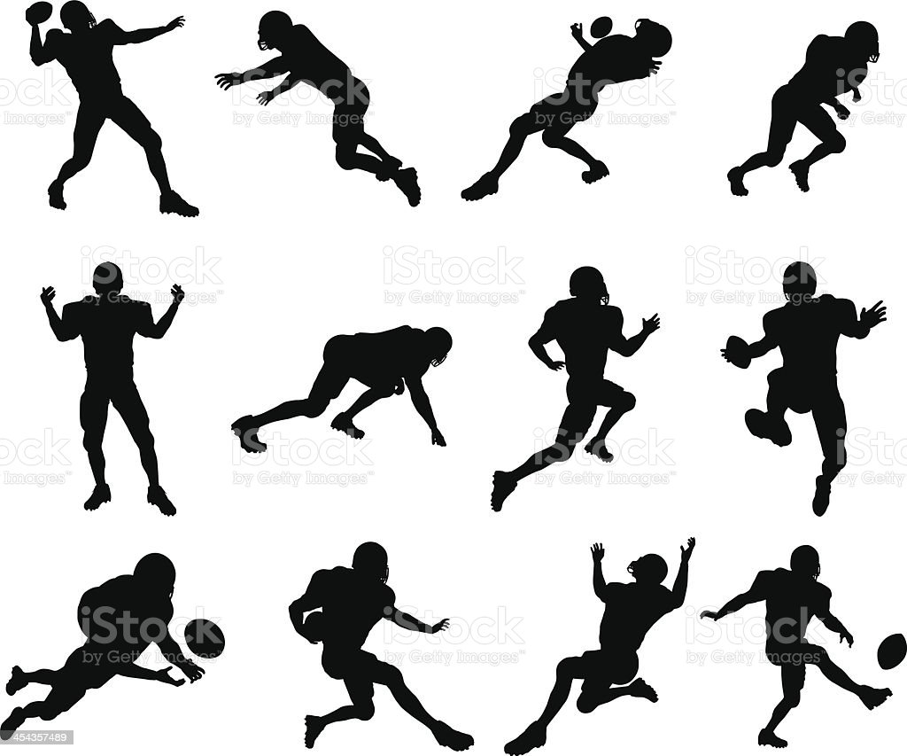 American football player silhouettes vector art illustration