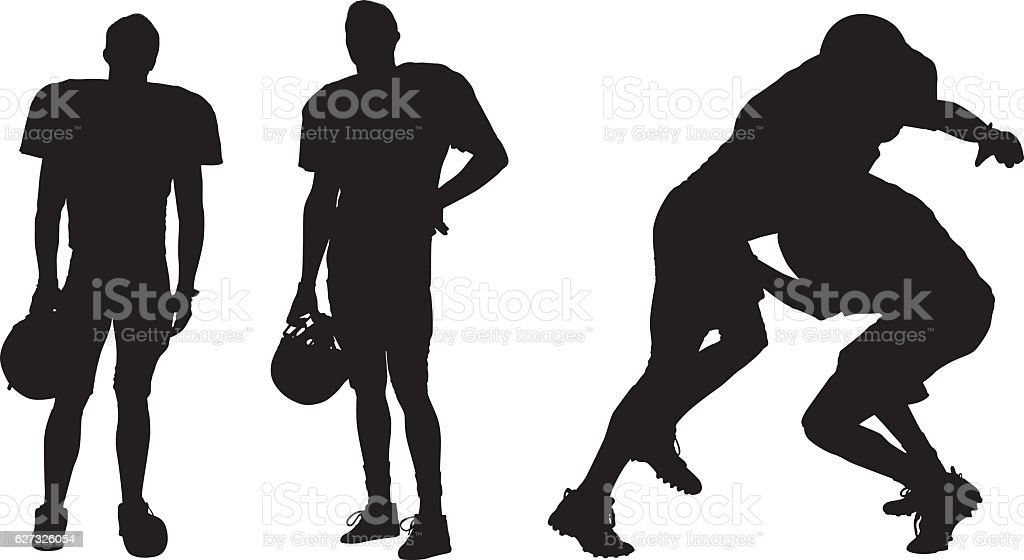 American football player standing and tackling vector art illustration