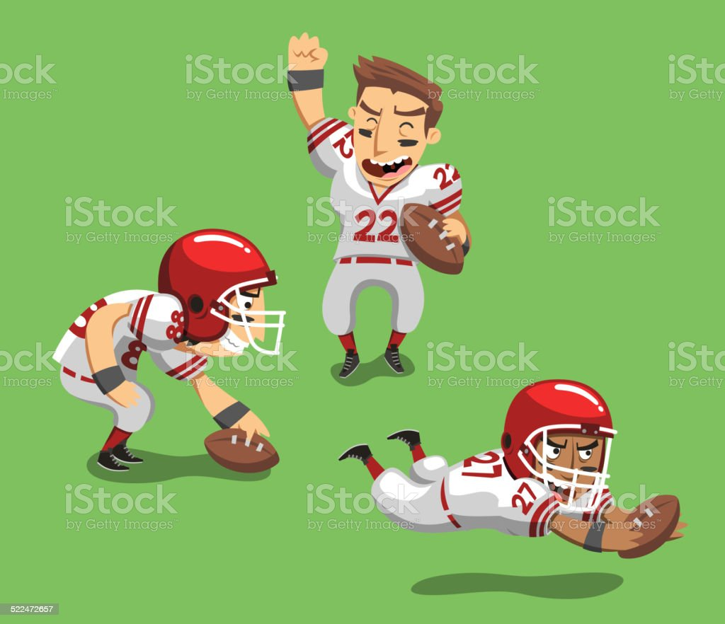 American Football Player with Ball in field I vector art illustration