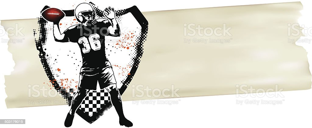 american football player with shield and banner vector art illustration