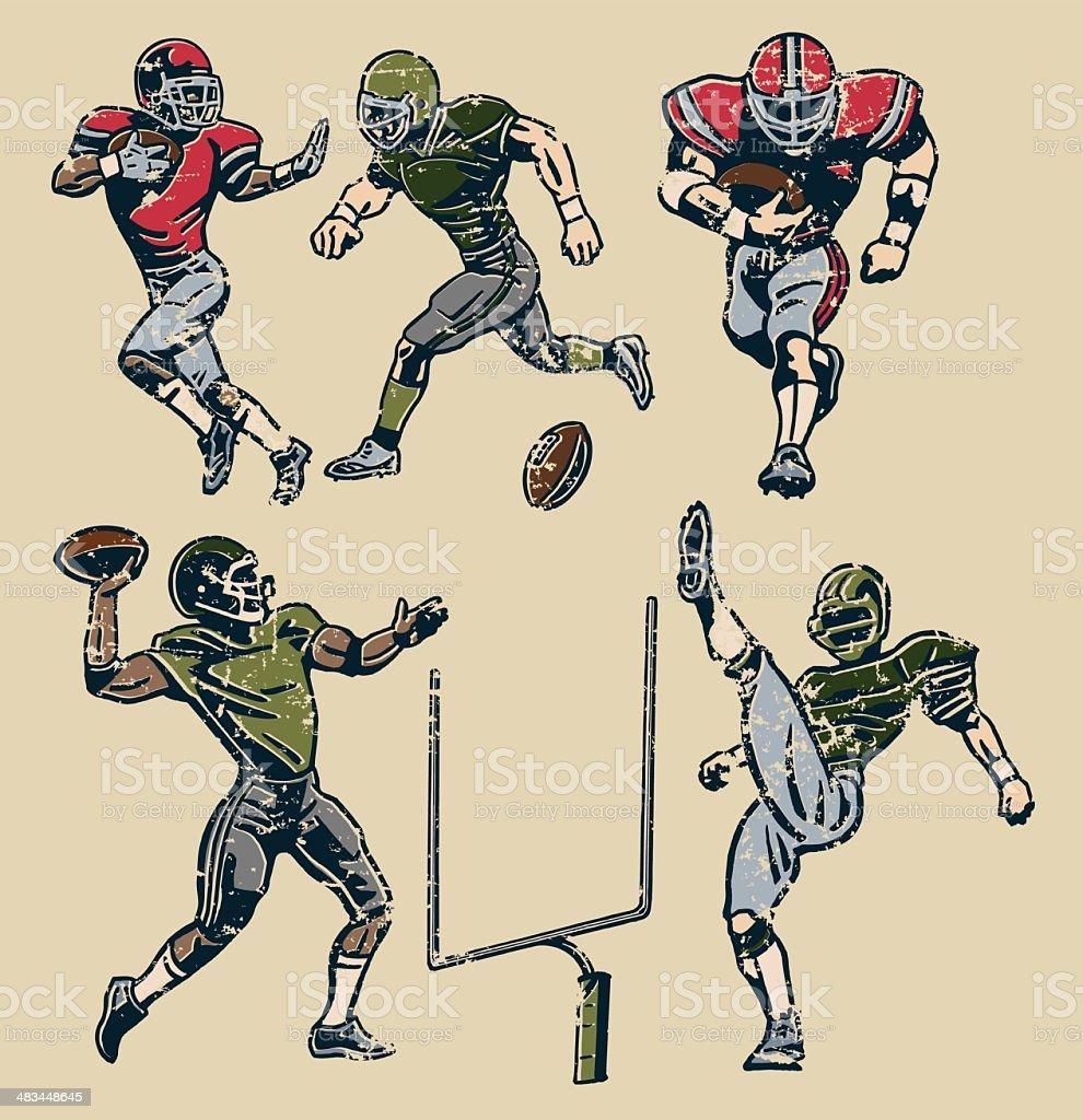 American Football Players - Retro Style vector art illustration