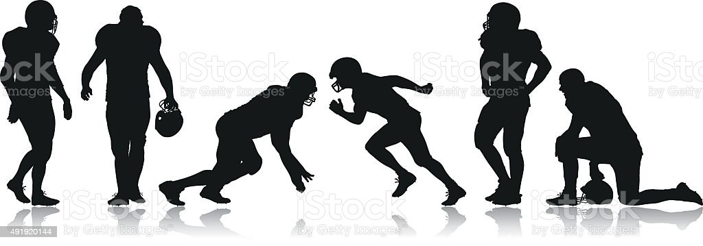 American Football Players vector art illustration