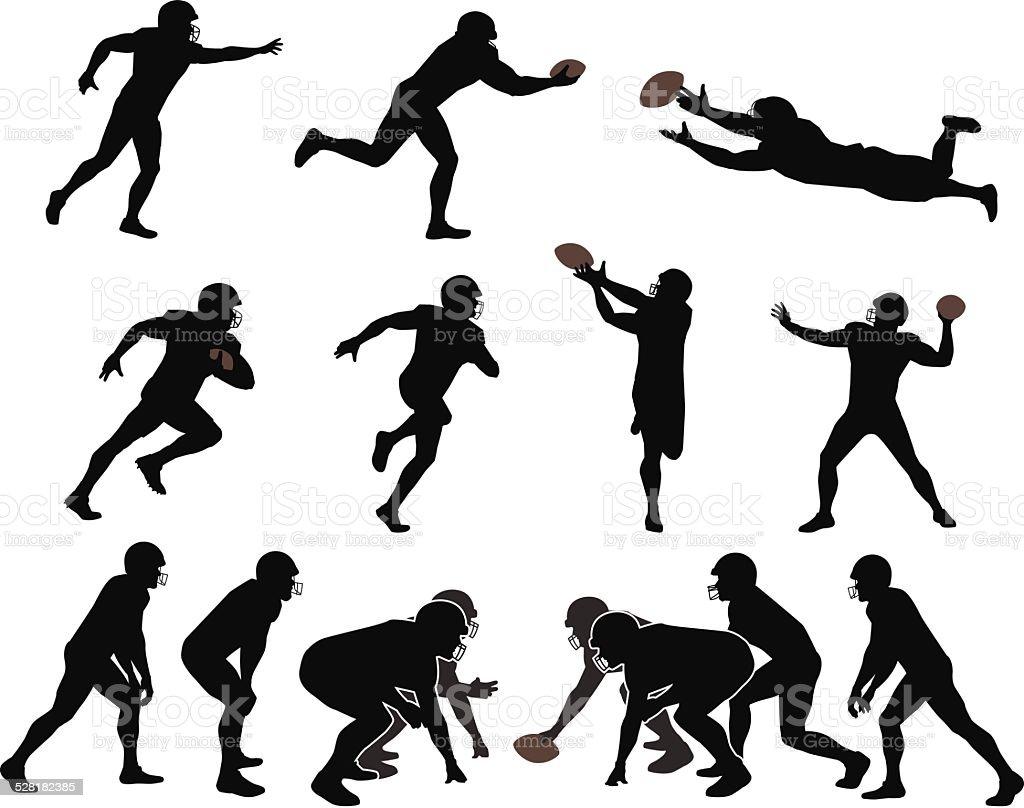 American Football Players vector art illustration