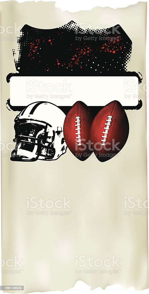 american football poster with old paper background vector art illustration