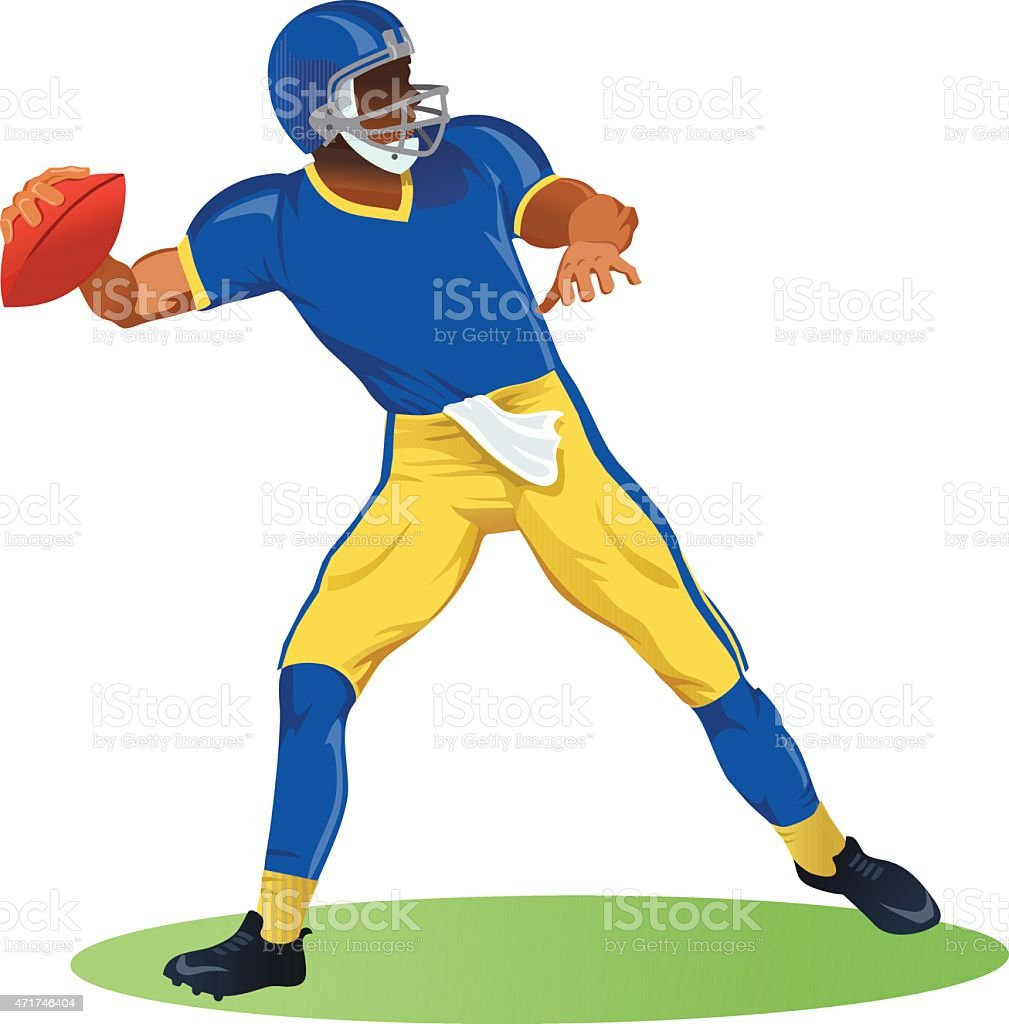 American Football Quarterback In Throwing Motion stock