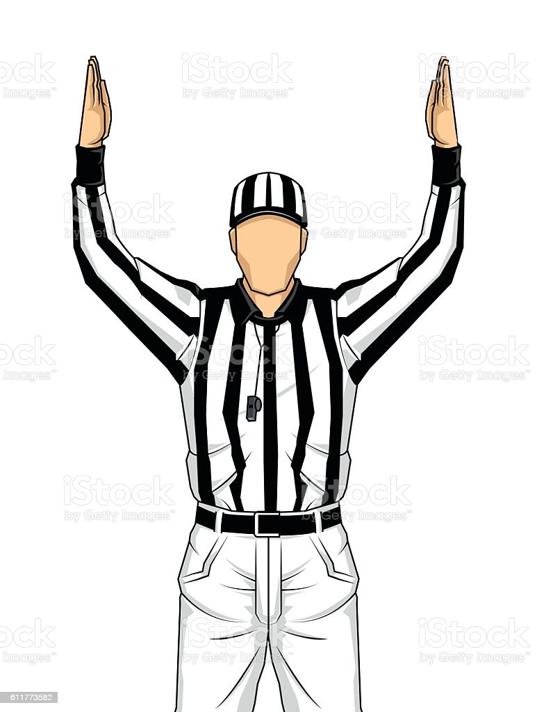 American football referee with touchdown vector art illustration