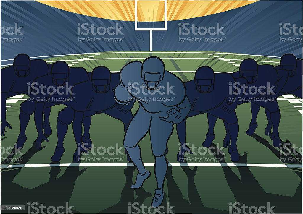American football scene - Offensive lineup vector art illustration