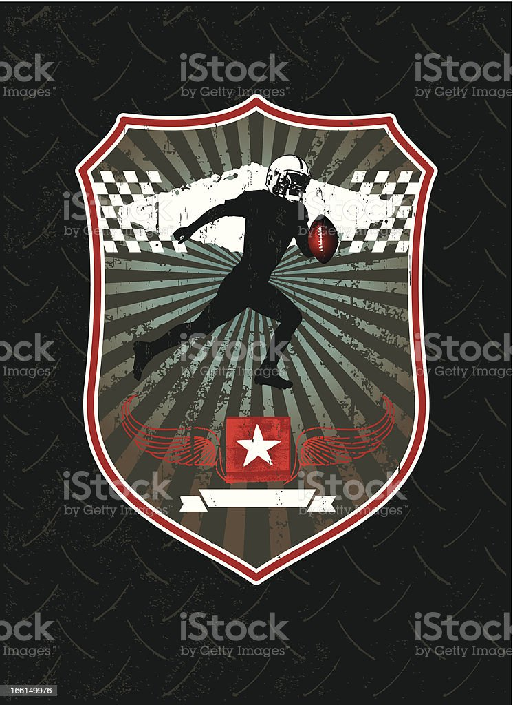 american football shield with best player vector art illustration