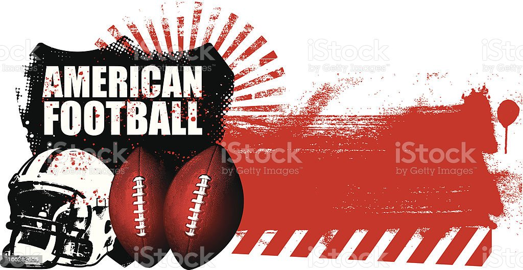 american football shield with grunge red banner royalty-free stock vector art